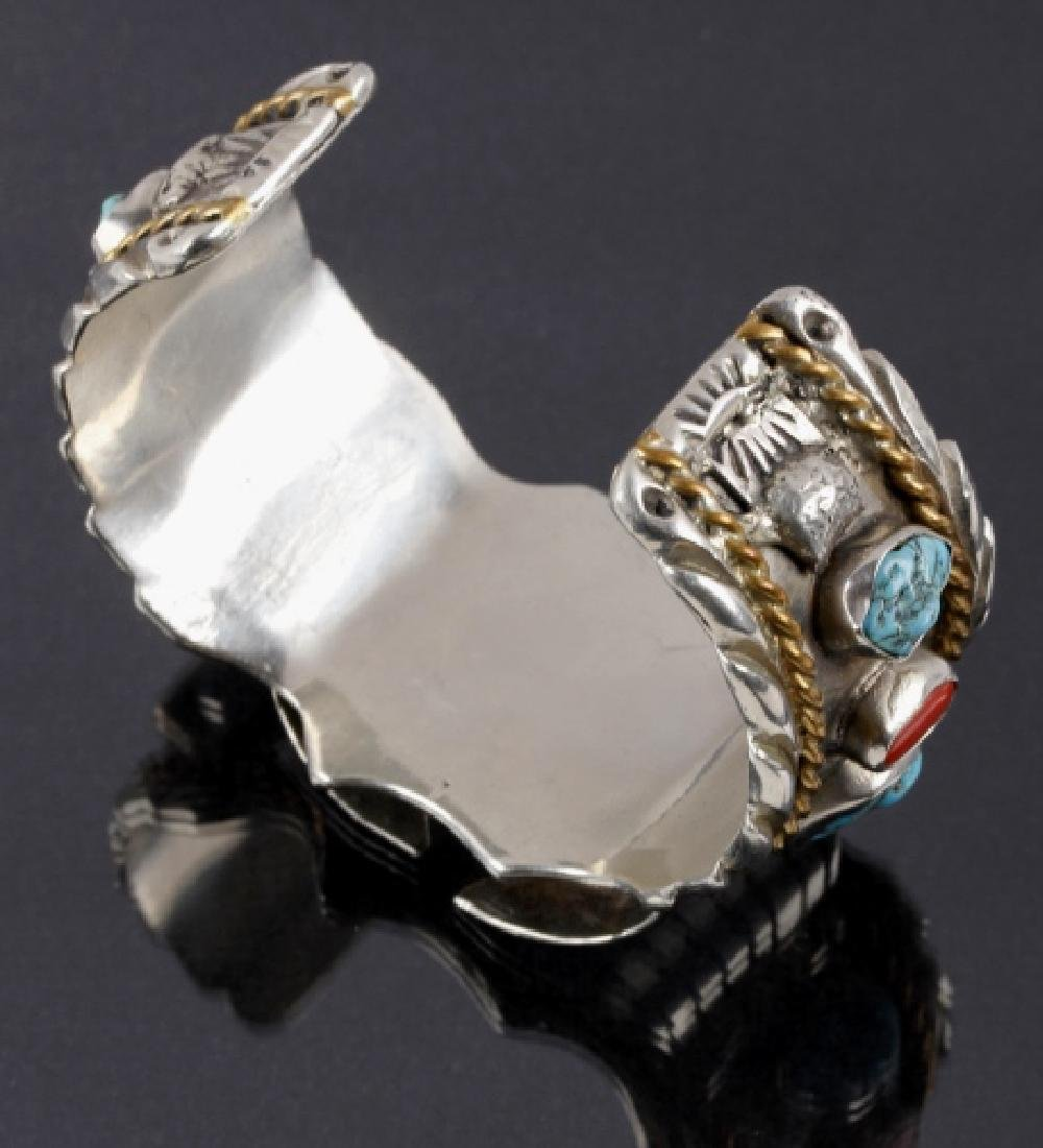 Navajo Sterling, Turquoise & Coral Watch Cuff - 6