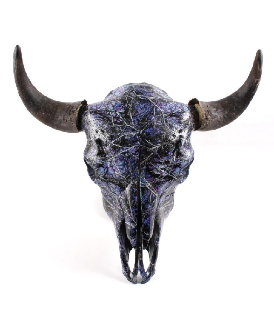 Muddy Girl Camo Painted Bull American Bison Skull