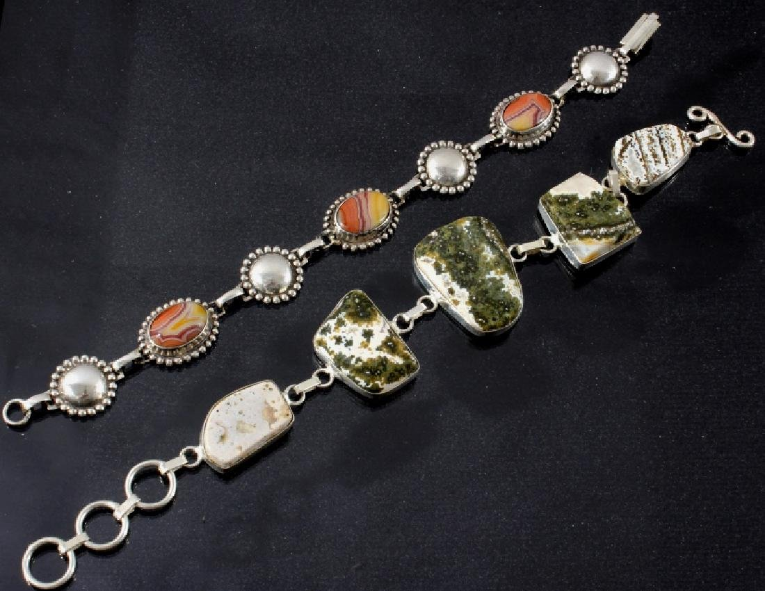 Two Sterling And Agate Link Bracelets