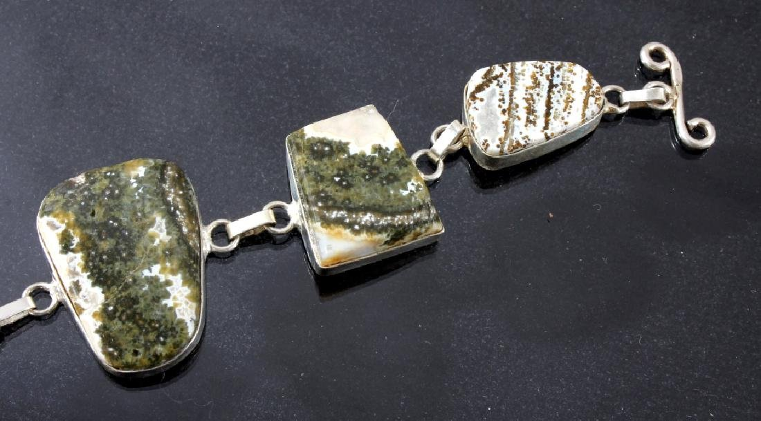 Two Sterling And Agate Link Bracelets - 2