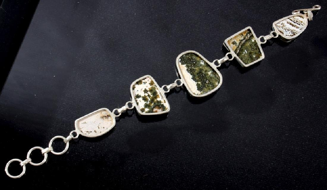 Two Sterling And Agate Link Bracelets - 6