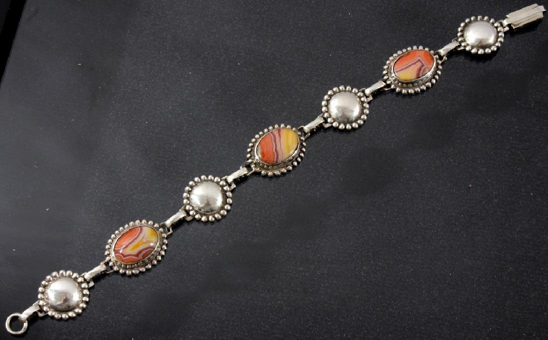 Two Sterling And Agate Link Bracelets - 7
