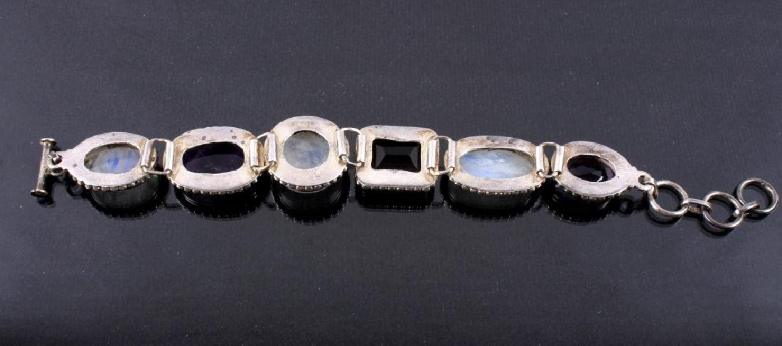 Two Sterling Silver And Gemstone Link Bracelets - 15