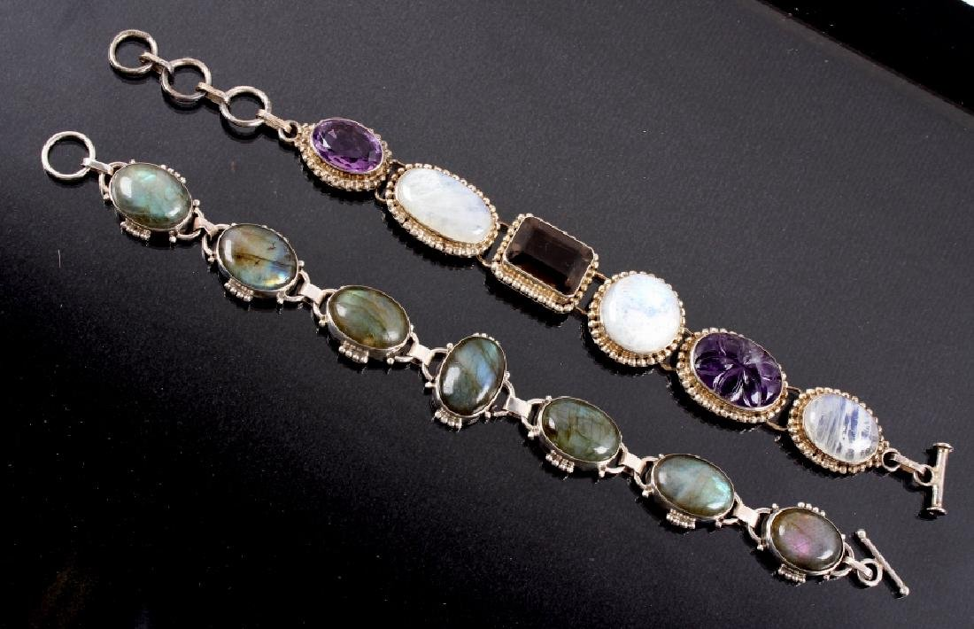 Two Sterling Silver And Gemstone Link Bracelets - 16