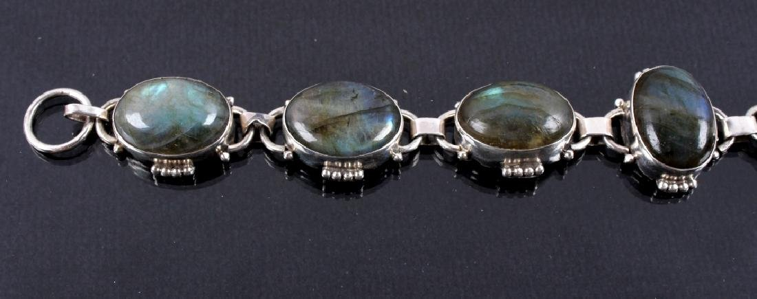 Two Sterling Silver And Gemstone Link Bracelets - 2