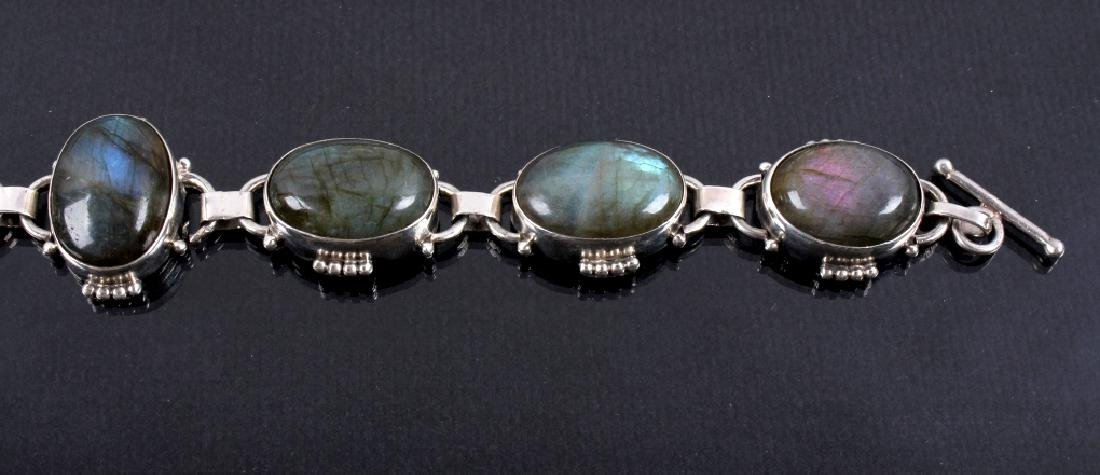 Two Sterling Silver And Gemstone Link Bracelets - 3