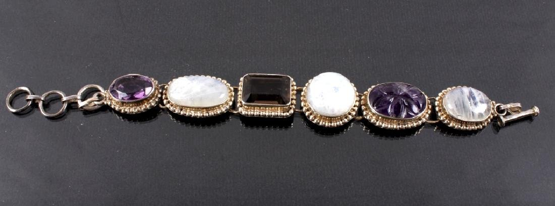 Two Sterling Silver And Gemstone Link Bracelets - 8