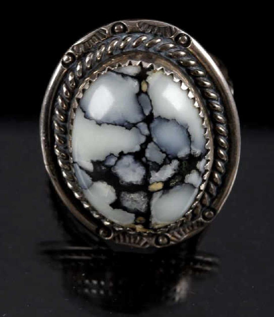 Signed Navajo Silver, White Buffalo Turquoise Ring