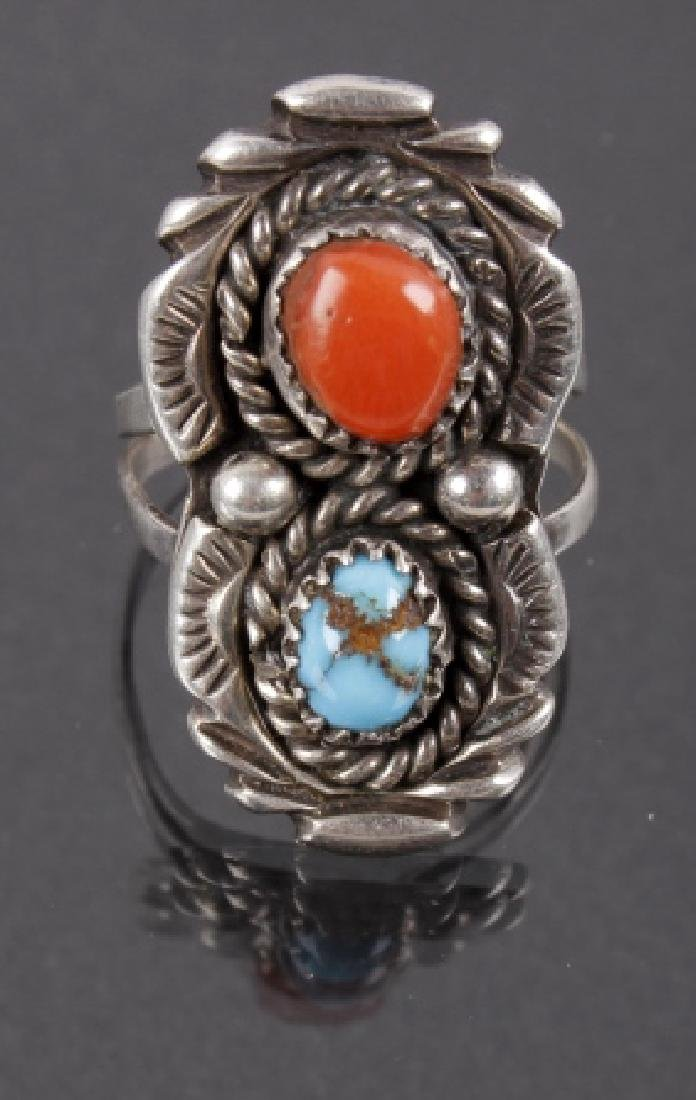 Signed Navajo Silver, Turquoise, Blood Coral Ring