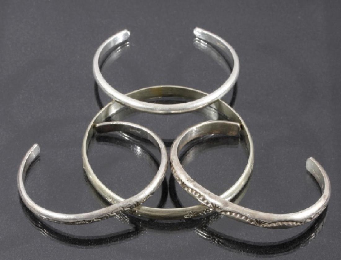 Navajo Native Sterling Silver Bracelets (4)