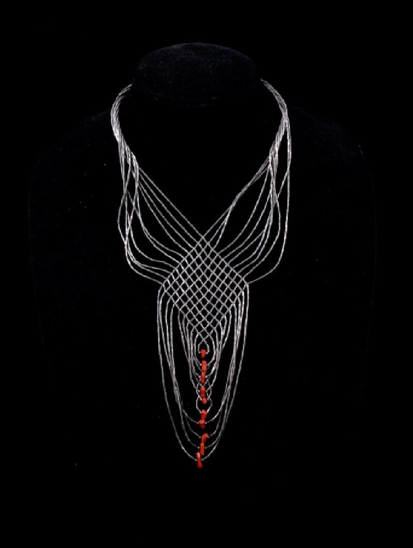 Navajo Woven Liquid Silver & Brach Coral Necklace - 6