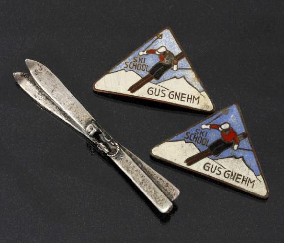 Antique Sterling Ski Brooch & Ski School Pins