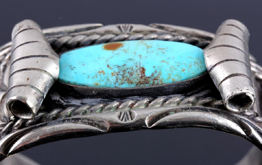 Navajo Sterling Silver and Turquoise Cuff - 4