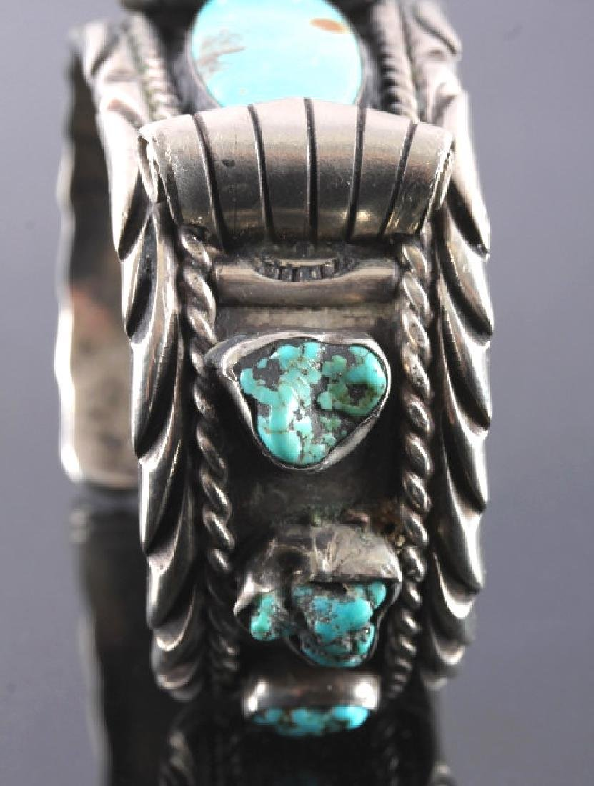 Navajo Sterling Silver and Turquoise Cuff - 5