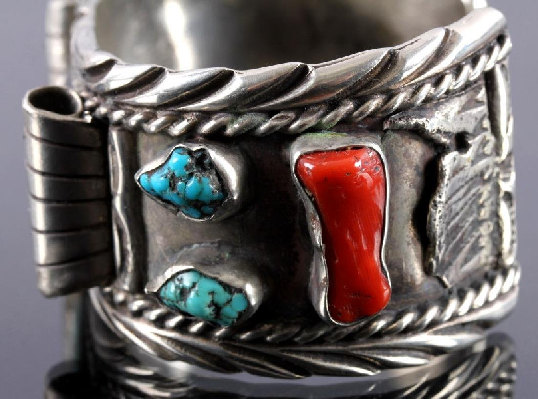 Navajo Sterling Silver and Turquoise Cuff - 6