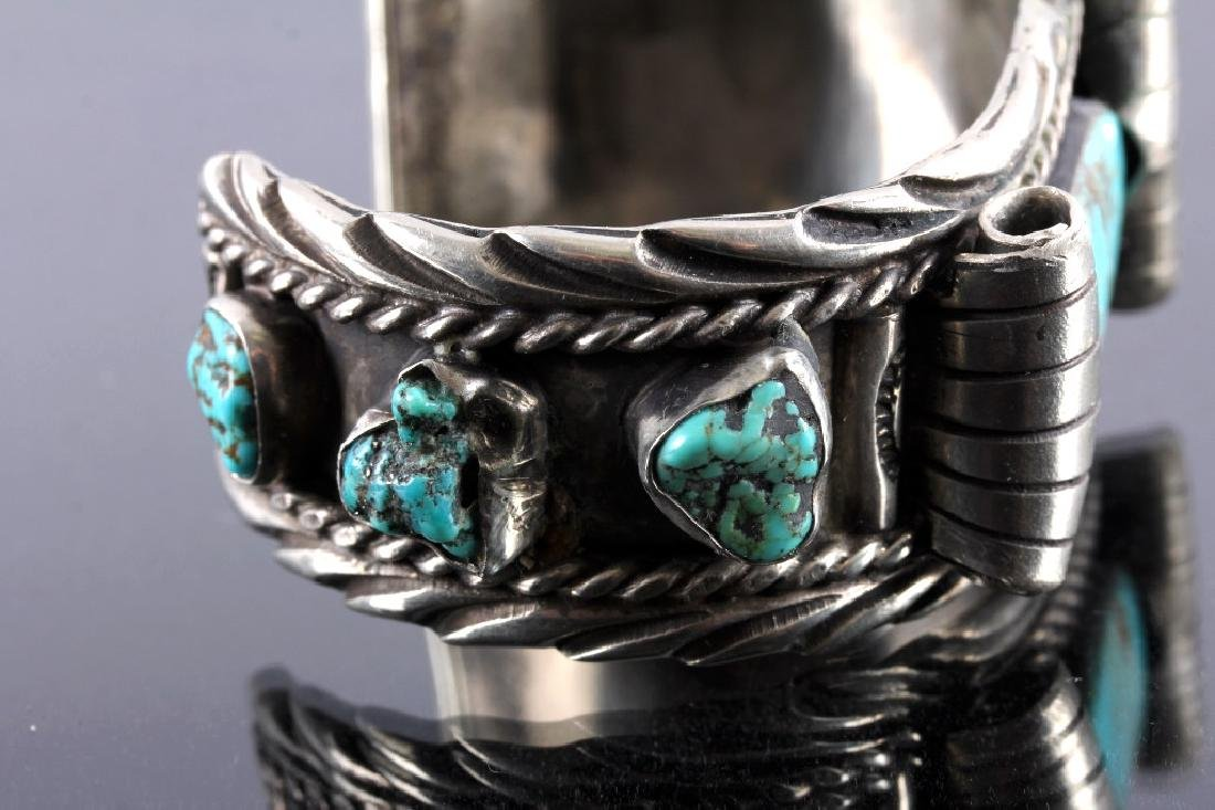 Navajo Sterling Silver and Turquoise Cuff - 7