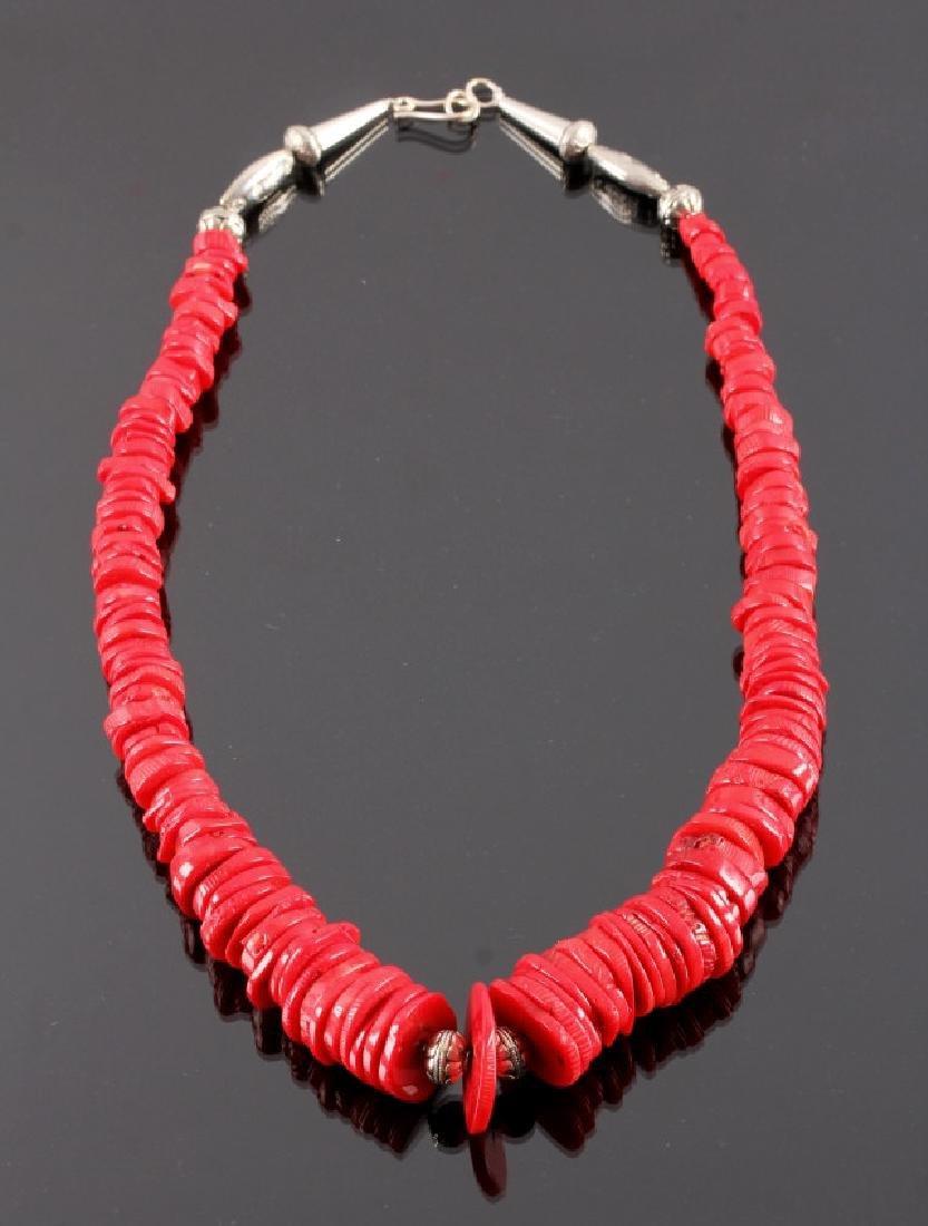 Navajo Discoidal Coral Nugget Necklace