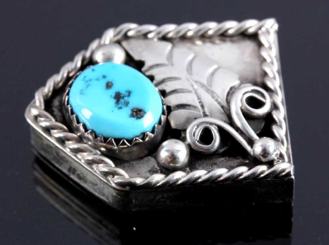 Navajo Sterling Silver Turquoise Ranger Buckle Set - 10