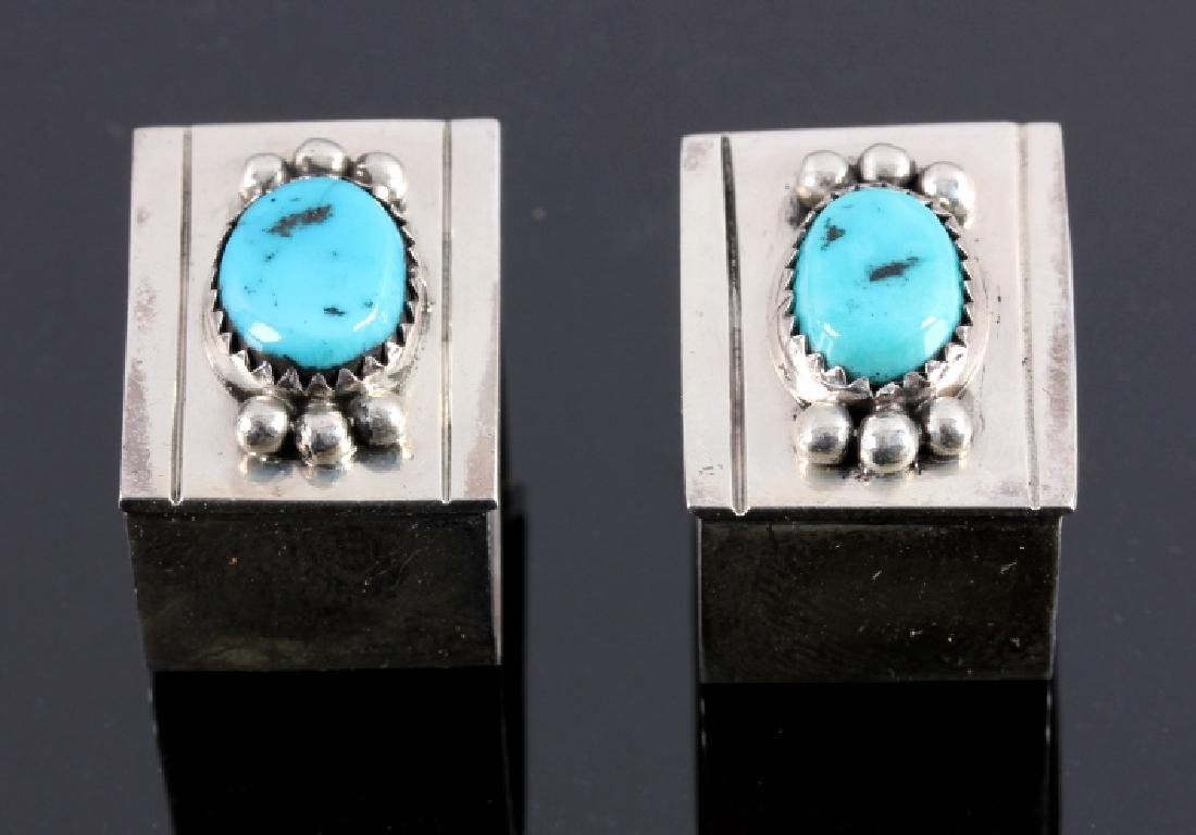 Navajo Sterling Silver Turquoise Ranger Buckle Set - 7
