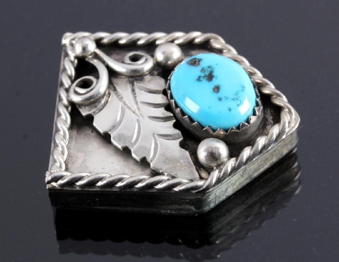 Navajo Sterling Silver Turquoise Ranger Buckle Set - 9