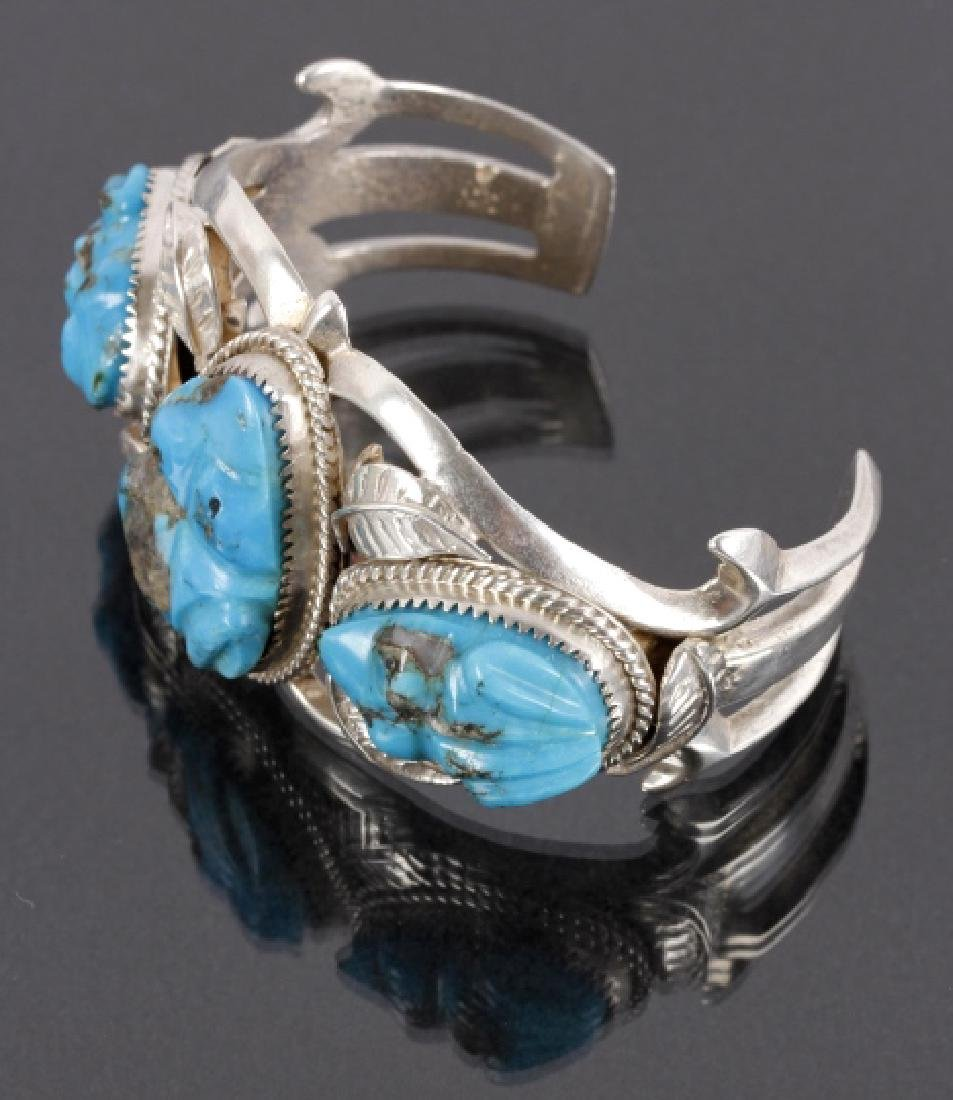 Navajo Sterling Cuff w/ Turquoise Frog Effigies - 6