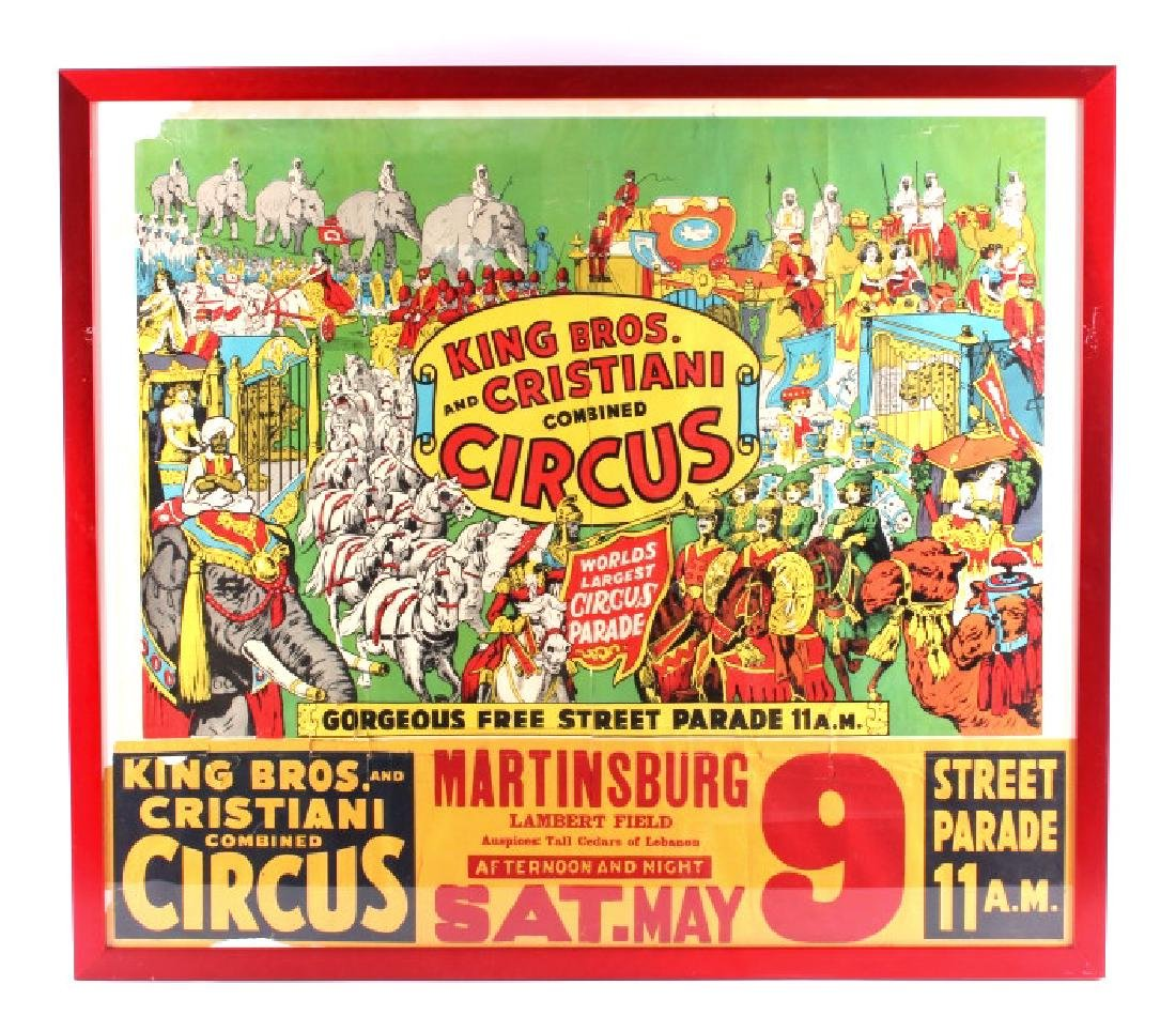King Bros. & Cristiani Circus Framed Poster 1950-