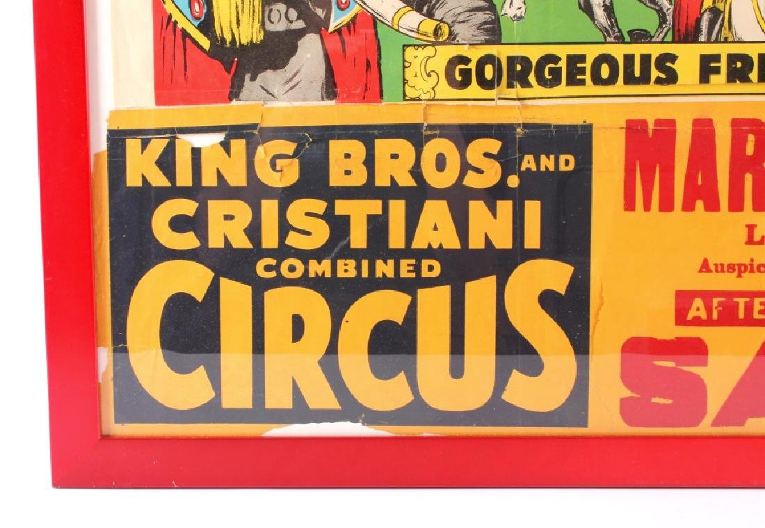 King Bros. & Cristiani Circus Framed Poster 1950- - 8