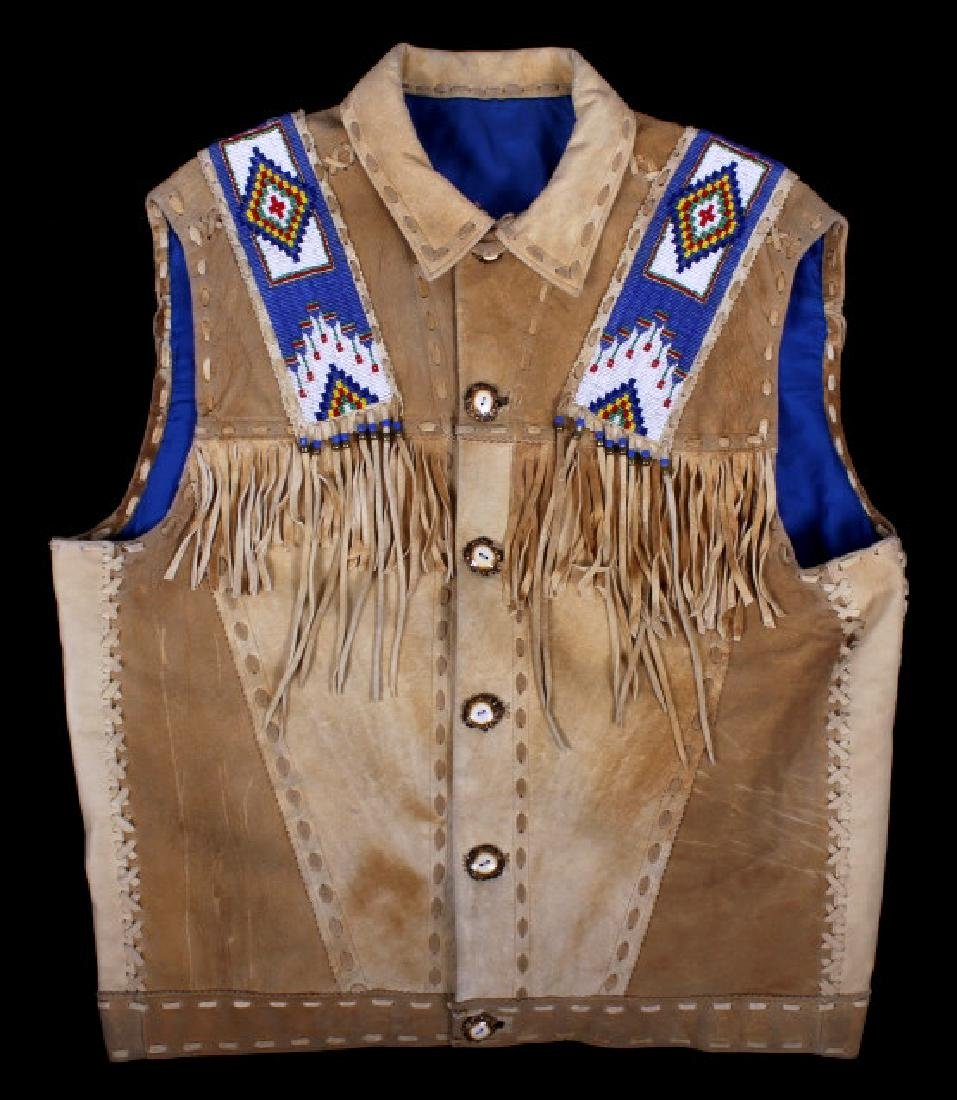 Native American Buckskin Beaded Vest, 20th Century