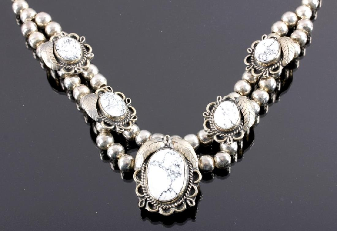 Sterling Silver White Buffalo Turquoise Necklace - 2