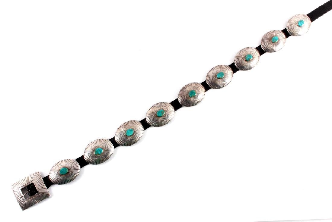 Navajo Sterling Silver Turquoise Concho Belt