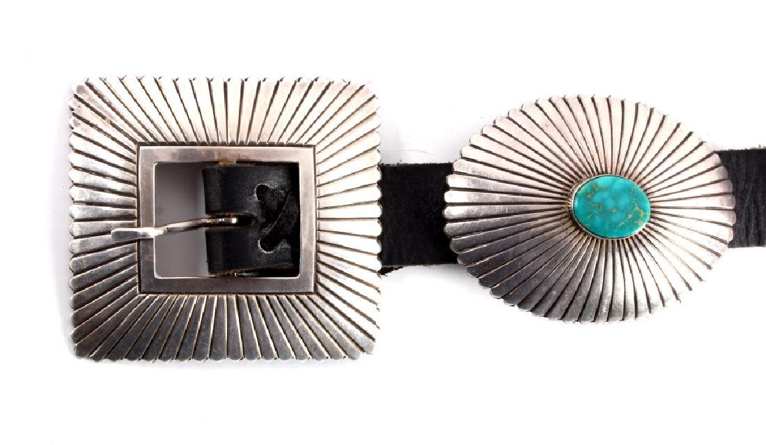 Navajo Sterling Silver Turquoise Concho Belt - 2