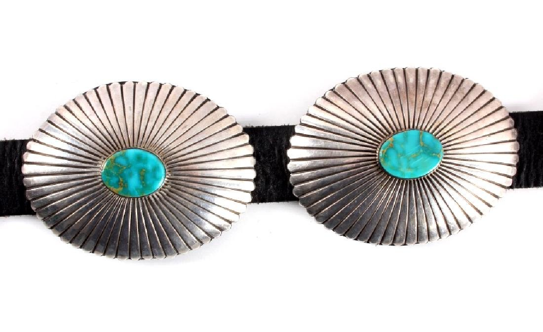 Navajo Sterling Silver Turquoise Concho Belt - 3