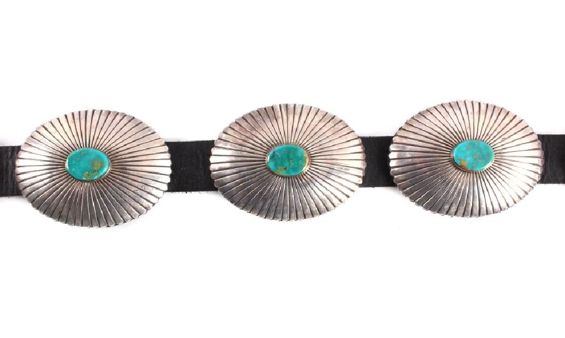 Navajo Sterling Silver Turquoise Concho Belt - 4