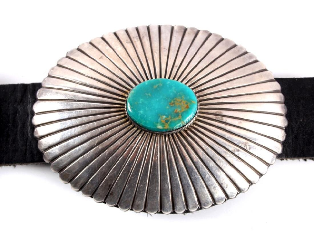 Navajo Sterling Silver Turquoise Concho Belt - 5
