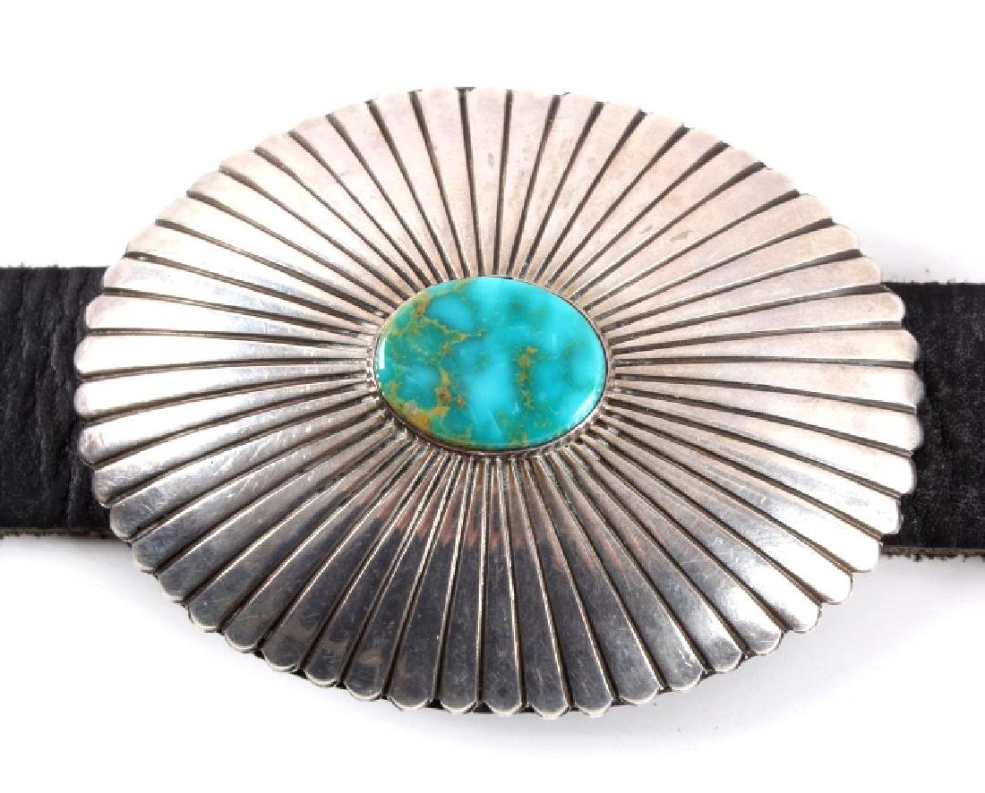 Navajo Sterling Silver Turquoise Concho Belt - 6