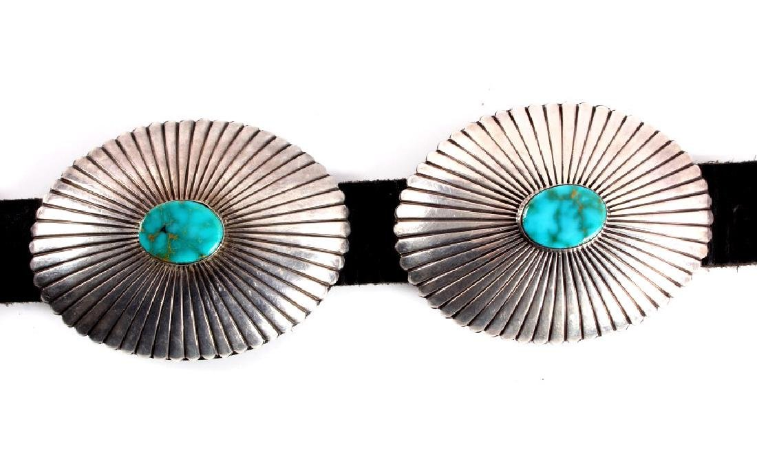 Navajo Sterling Silver Turquoise Concho Belt - 7