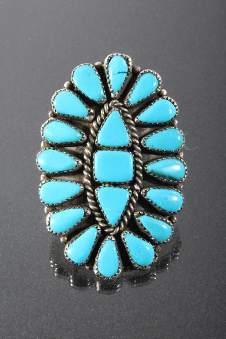 Navajo Nickel Silver & Turquoise Petite Point Ring