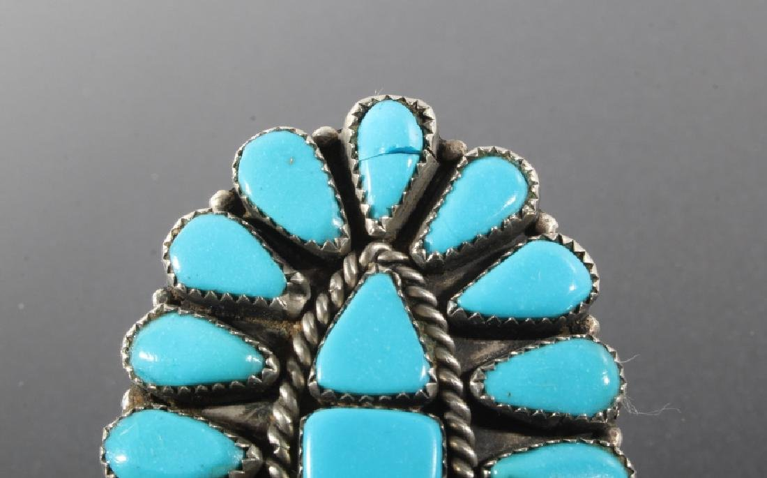 Navajo Nickel Silver & Turquoise Petite Point Ring - 2