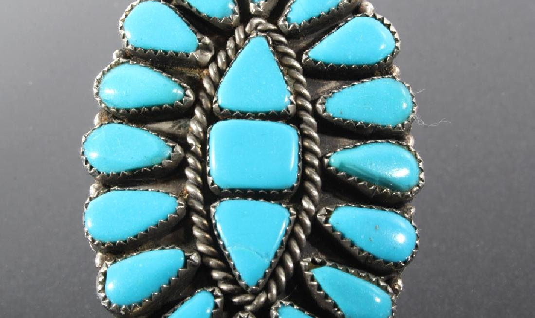 Navajo Nickel Silver & Turquoise Petite Point Ring - 3