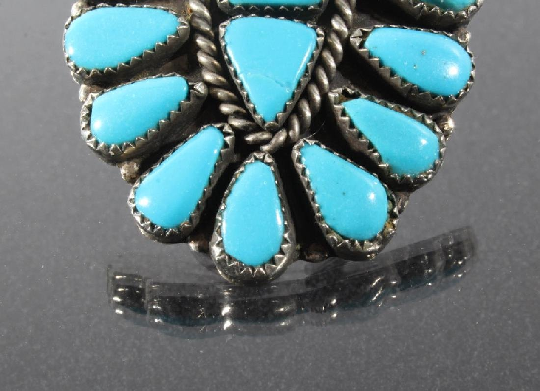 Navajo Nickel Silver & Turquoise Petite Point Ring - 4