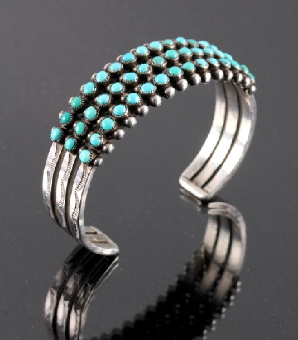 Navajo Coin Silver and Turquoise Cuff c.1930