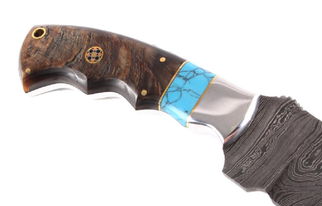 CFK Damascus Ram Horn Knife w/ Scabbard - 5
