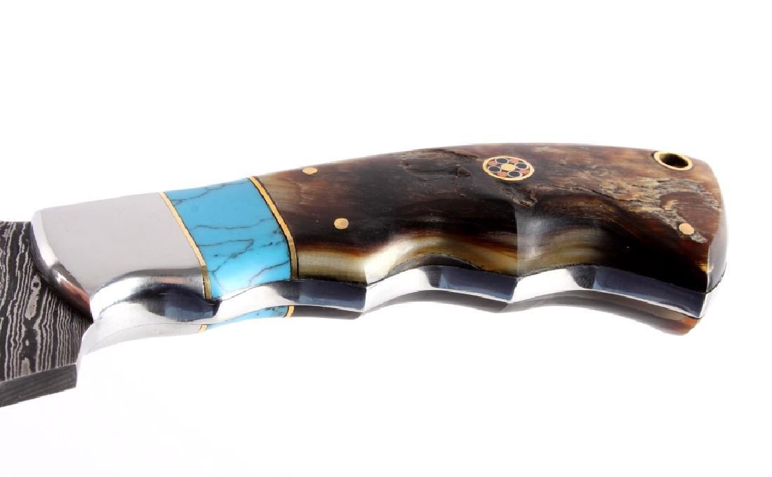 CFK Damascus Ram Horn Knife w/ Scabbard - 6