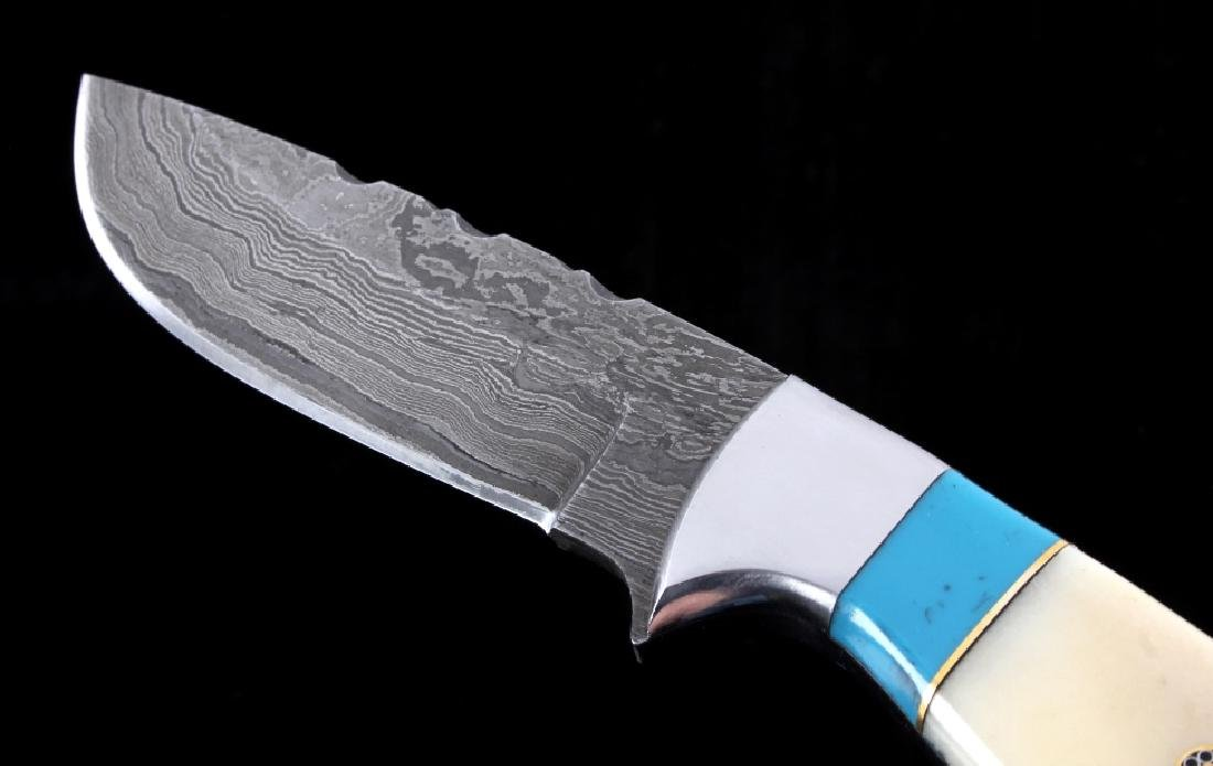 CFK Damascus Exotic Camel Bone Knife & Scabbard - 3