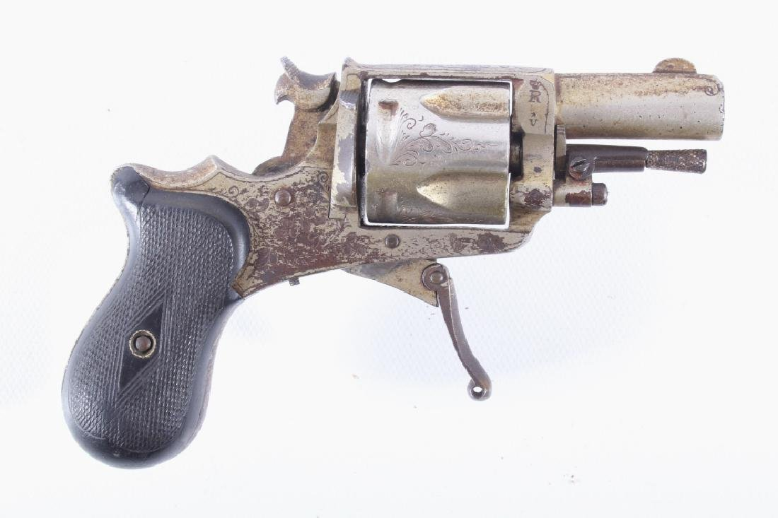 Engraved .32 CF Caliber Nickel Belgium Revolver