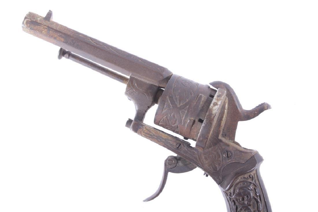 Engraved Belgium Folding 7mm Pinfire Revolver - 10