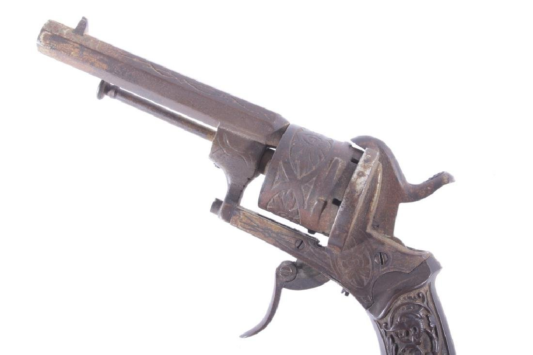 Engraved Belgium Folding 7mm Pinfire Revolver - 10