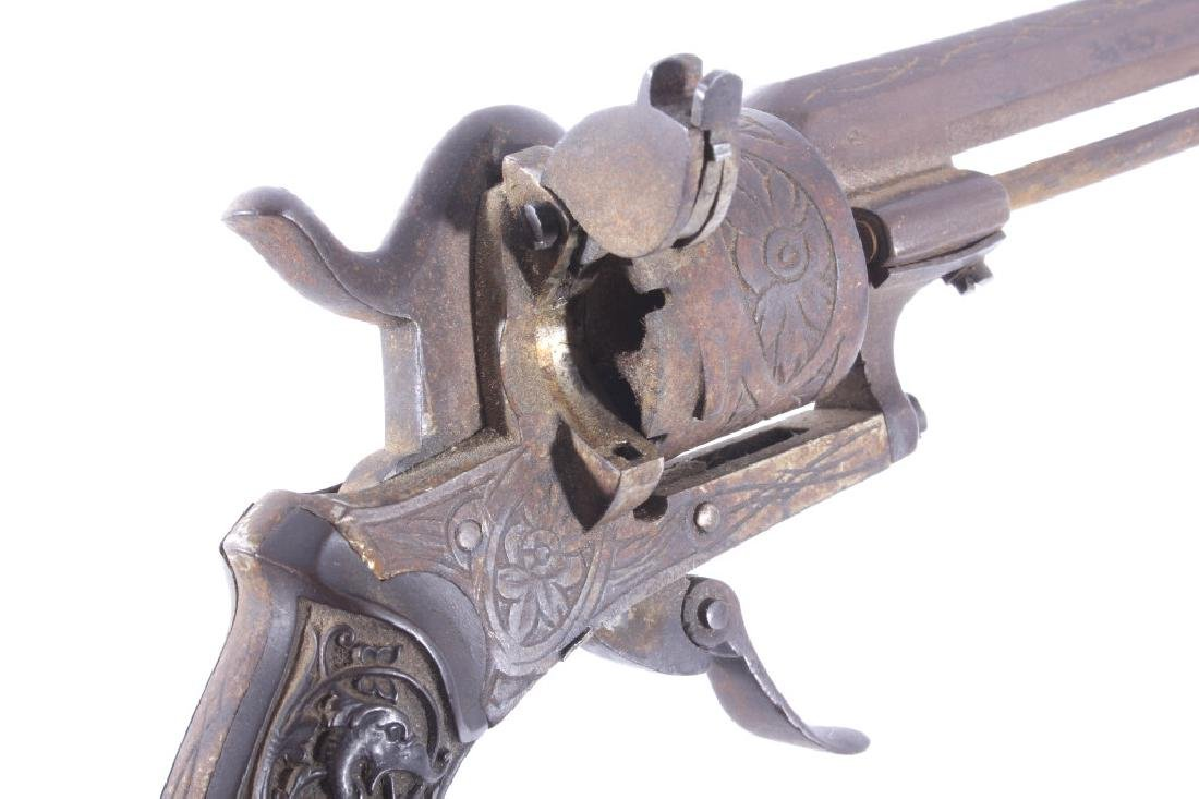 Engraved Belgium Folding 7mm Pinfire Revolver - 13