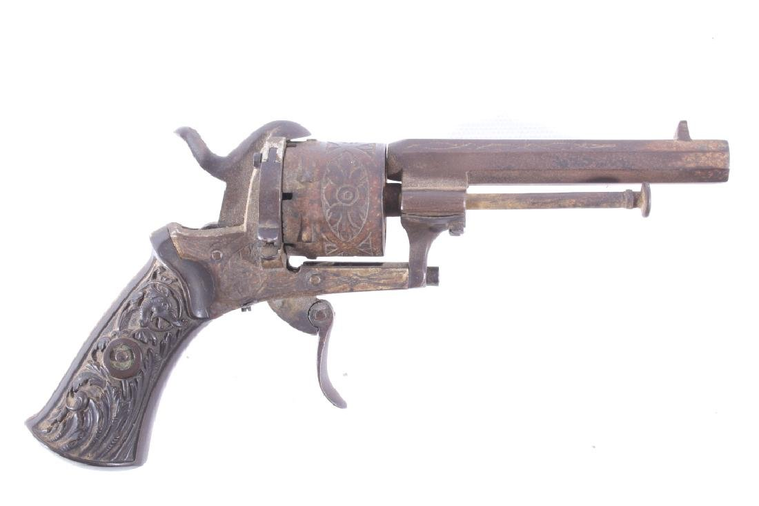 Engraved Belgium Folding 7mm Pinfire Revolver