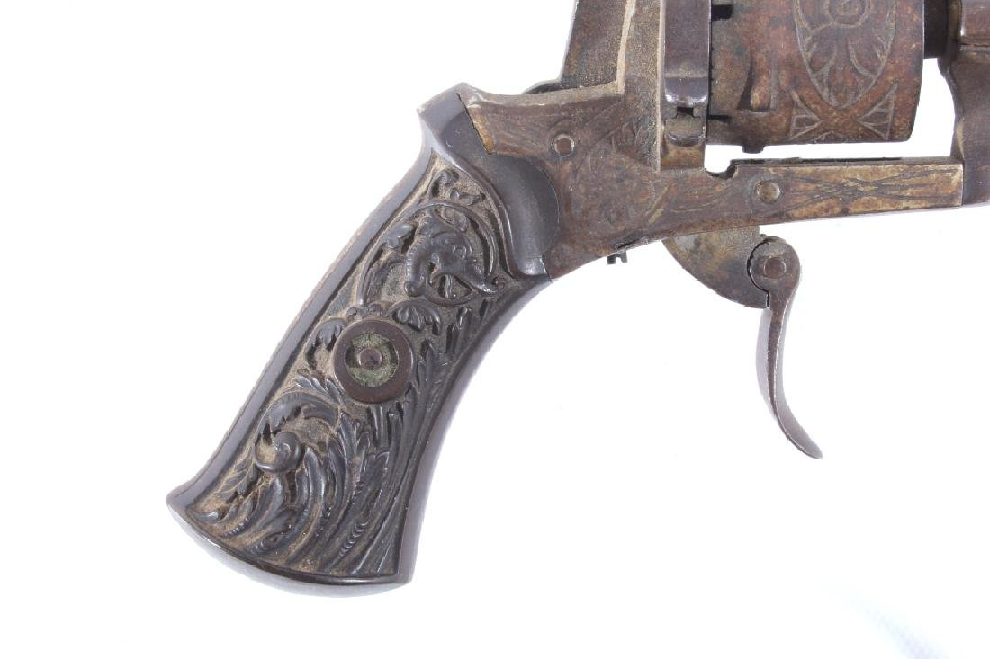 Engraved Belgium Folding 7mm Pinfire Revolver - 2